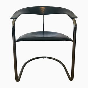 Vintage Leather Tubular Canasta Chair from Arrben, Italy, 1970s