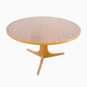 Mid-Century Danish Copper and Teak Coffee Table, 1960s