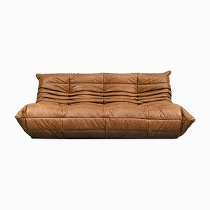 Vintage Cognac Leather Sofa by Michel Ducaroy for Ligne Roset
