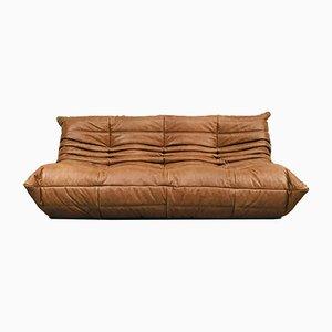 Vintage Cognac Leather Sofa by Michel Ducaroy for Ligne Roset
