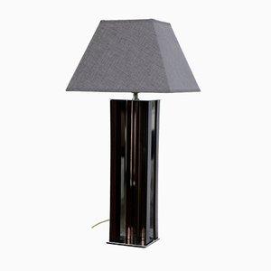 Lampada da tavolo in acciaio cromato, perspex e placcata in cromo, Francia, anni '70