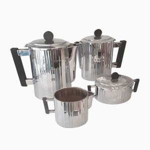 French Art Deco Chrome Coffee Set, Set of 4