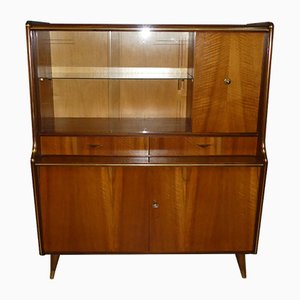 Small Mid-Century Glass Living Room Bar Cabinet with Drawers, 1950s