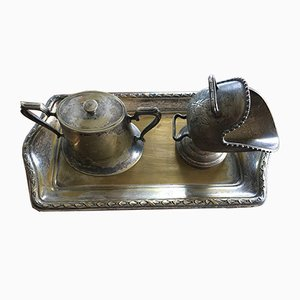 Silver-Plated Brass Sugar Bowls & Tray, 1960s, Set of 3