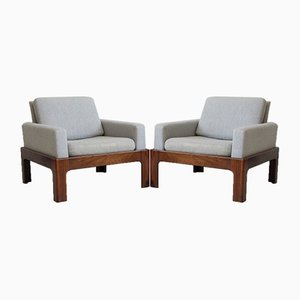 Hardwood & Rosewood Armchairs with Wool Upholstery Attributed to Illum Wikkelsø for Niels Eilersen, 1960s, Set of 2