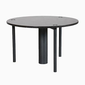 Black Lacquered Metal and Granite Round Dining Table, 1970s