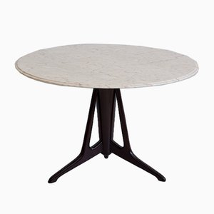 Ebonized Wood Round Table with Marble Top by Ico Luisa Parisi, 1950s