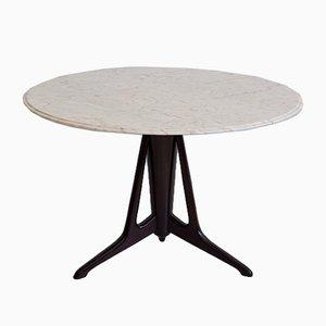 Tavolo rotondo in legno ebanizzato con superficie in marmo di Ico Luisa Parisi, anni '50