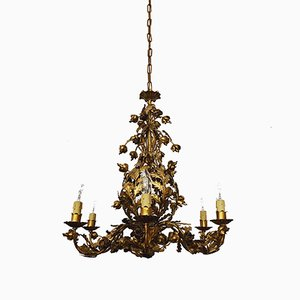 Italian Gilt Floral Chandelier from Ciani, 1980s