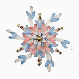 Lámpara de pared Hollywood Regency floral, años 70