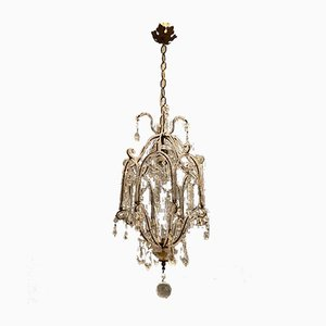Vintage Crystal Beaded Chandelier, 1950s