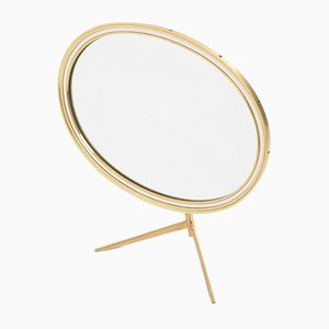 Mid-Century Modern Oval Vanity Brass Table Mirror from Vereinigte Werkstätten Collection, 1960s
