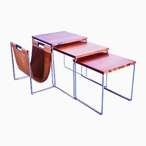 Rosewood Nesting Tables & Magazine Rack from Brabantia, 1960s, Set of 3