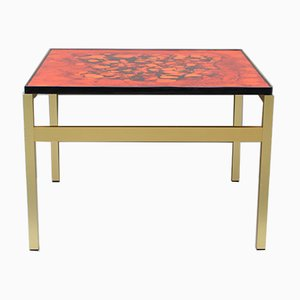 Vintage Danish Minimalist Red Lava Patterned Painted Glass Coffee Table, 1970s