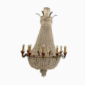 Lámpara de araña vintage grande de cristal, años 50