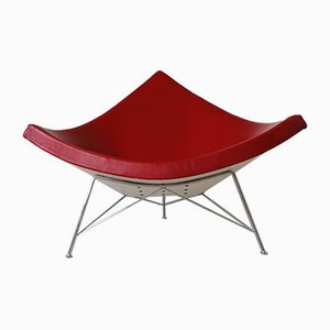 Mid-Century Dark Red Leather Coconut Lounge Chairs by George Nelson for Vitra, Set of 4