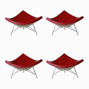 Mid-Century Coconut Lounge Stühle in Dunkelrot von George Nelson für Vitra, 4er Set