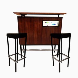 Palisander Bar & Hocker von Metalform, 1962, 2er Set