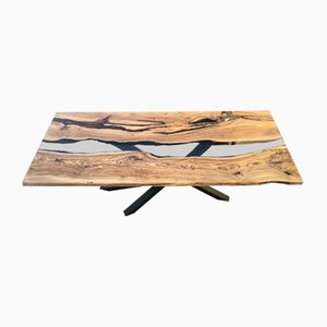 River Olive Wood and Epoxy Resin Table by Andrea Toffanin for W.A.T. 1988