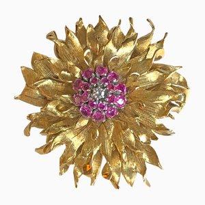 Spilla color rubino e diamanti, anni '50