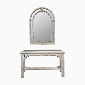 Vintage Console Table & Mirror in the Style of Roche from Gampel Stoll, Set of 2