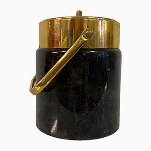 Lacquered Goatskin and Brass Ice Bucket by Aldo Tura, 1950s