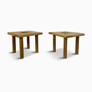 Small Beech and Oak Side Tables or Stools, 1970s, Set of 2