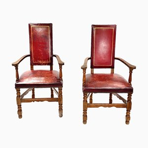 Renaissance Style Burgundy Color & Oak Armchairs, France, 1950s, Set of 2
