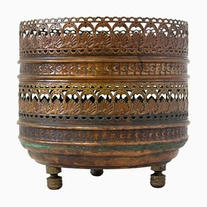French Copper Pierced and Round Jardinière Planter Cachepot, 1920s