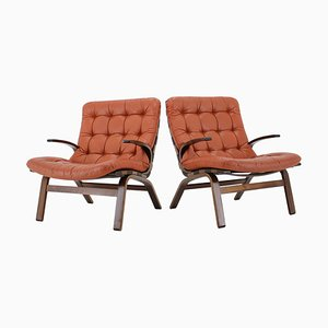 Danish Bentwood Armchairs in Red Leather, 1970s, Set of 2