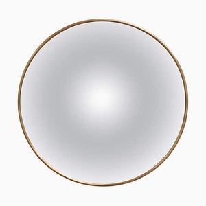 Mid-Century Italian Convex Wall Mirror with Brass Frame, 1950s