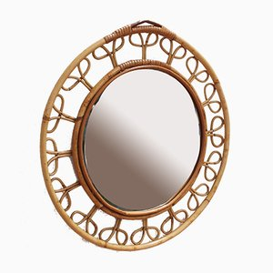 Mid-Century French Rattan Wall Mirror, 1960s