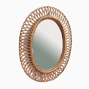 Italian Rattan Wall Mirror in the Style of Franco Albini, 1960s