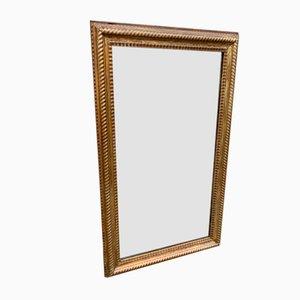 Espejo francés antiguo de madera tallada y escayola original tallado con marco acanalado