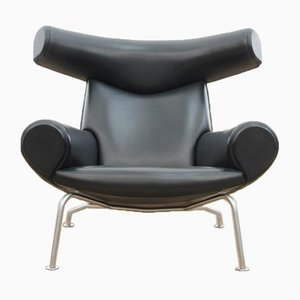 Black Leather Ox Lounge Chair by Hans J. Wegner for Erik Jørgensen Møbelfabrik, 2006