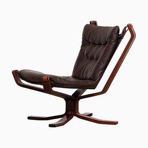 Dark Brown Leather Falcon Lounge Chair by Sigurd Resell, 1970s