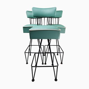Vintage Barstools in Tiffany Bleu, Belgium, 1950s, Set of 3