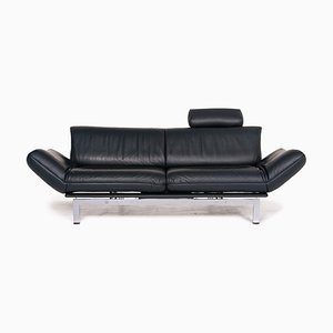Dark Green Petrol Leather DS 140 2-Seat Sofa with Relax Function from de Sede