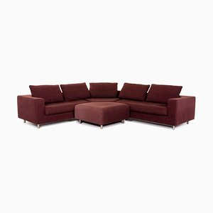 Dark Red Fabric 546 Corner Sofa & Stool from Rolf Benz, Set of 2