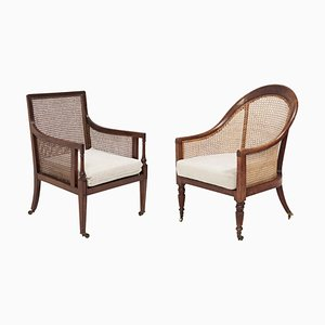 19th Century Bergère Beech Armchairs with Caned Backs, Set of 2