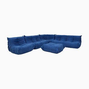 Blue Togo Modular Sofa & Footstool by Michel Ducaroy for Ligne Roset, 1970s, Set of 5