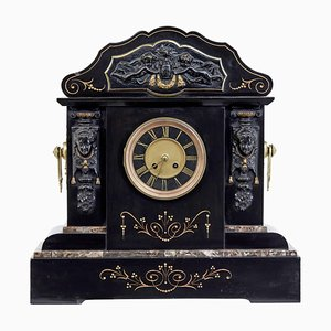High Victorian Inlaid Black Marble Mantel Clock