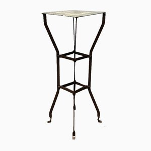 Riveted Iron Plant Table with Zinc Leaf, 1900s