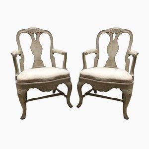 19th Century Swedish Rococo Armchairs, Set of 2