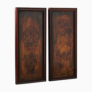 Painted Wooden Panels, 1850s, Set of 2