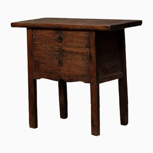 Antique Walnut Side Table with Drawers