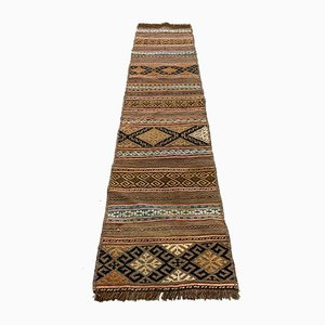 Vintage Brown and Beige Caucasian Narrow Kilim Runner Rug, 1960s