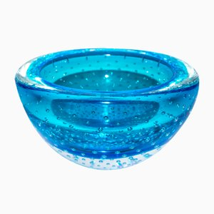 Murano Glass Bowl with Submerged Bubbles by Valter Rossi for VRM