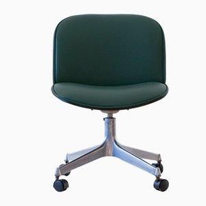 Sedia da scrivania girevole Skai verde di Ico & Luisa Parisi per MIM, anni '50