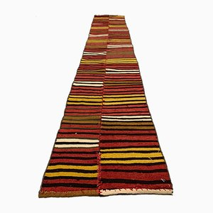 Turkish Red and Gold Narrow Kilim Runner Rug, 1960s